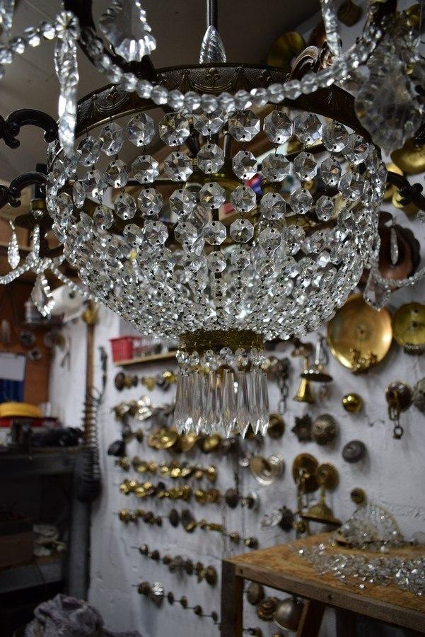 renowacja lampy z kryształami
