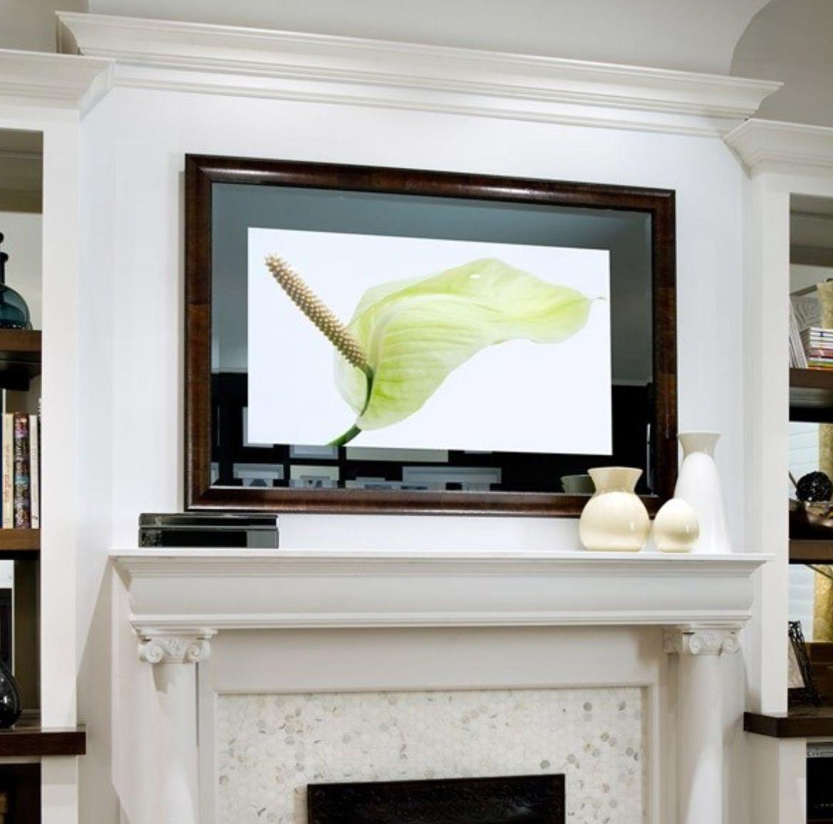 telewizor nad kominkiem